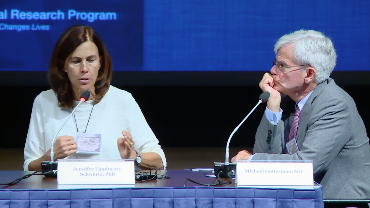 Dr. Lippincott-Schwartz, seated at a table, discusses her research with Dr. Michael Gottesman