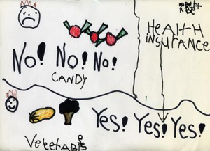 Child's drawing depicting candy with unhappy face and no no no and vegetables with a happy face and yes yes yes and health insurance rates going down from candy to vegetables