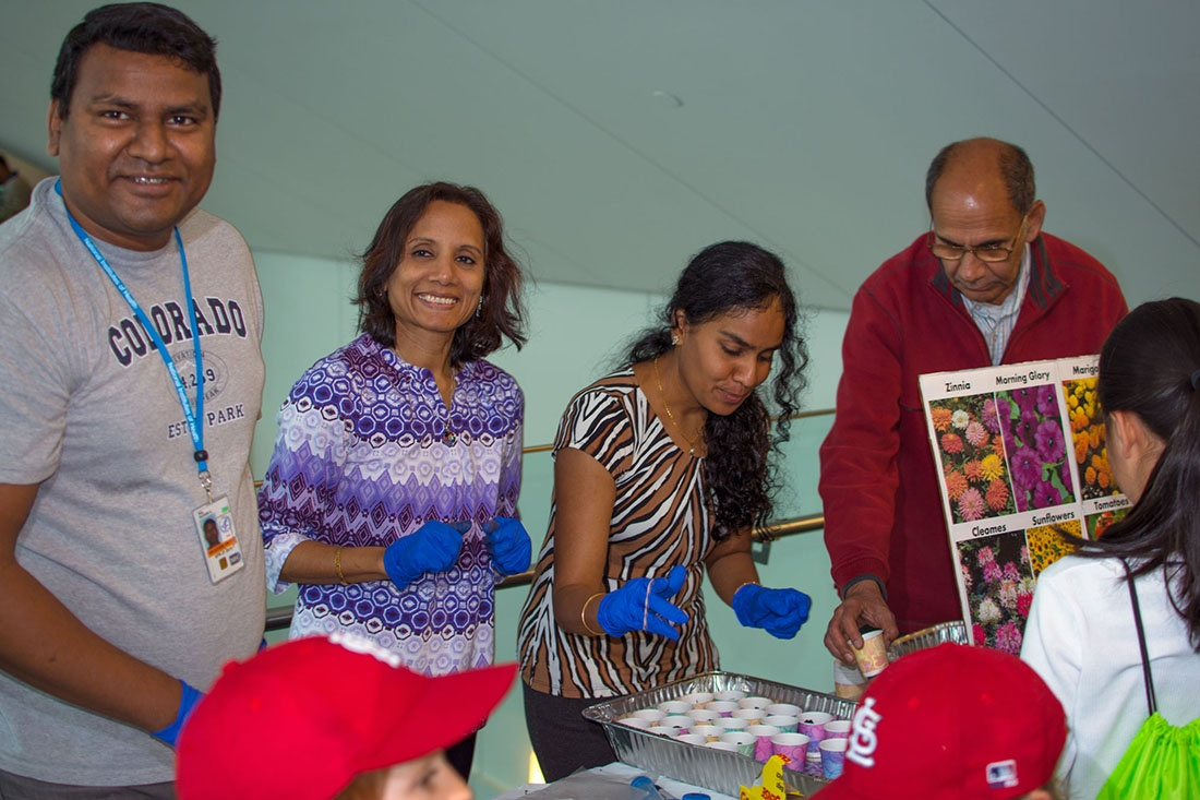 Sudhir Rai, Mahua Mukhopadhyay, and others at the NIH Earth Day event