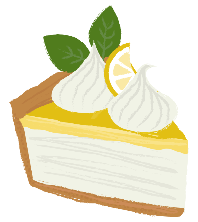 Illustration of a slice of lemon meringue pie