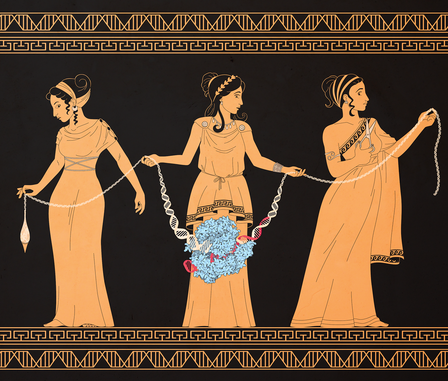 Red-figure Greek pottery style illustration of the three Fates holding a DNA strand and a CRISPR molecule