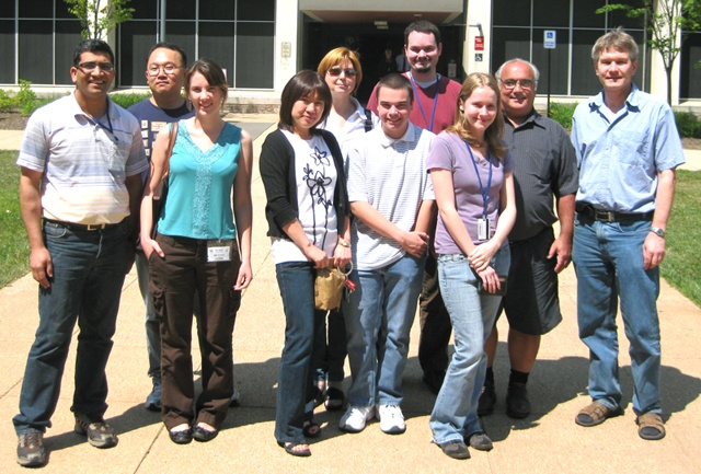 Group photo of the Section on Molecular and Cell Biology - outside on a sunny day.