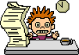 Cartoon of a spikey-haired person sitting at a desk. On the desk is a cup of coffee and a huge stack of paper.