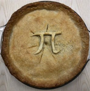 Pie with smooth crust top and a pi symbol