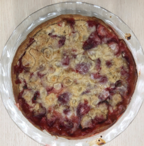 Strawberry and crumble topped pie
