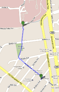 Map from NIH campus to Bangkok Garden restaurant